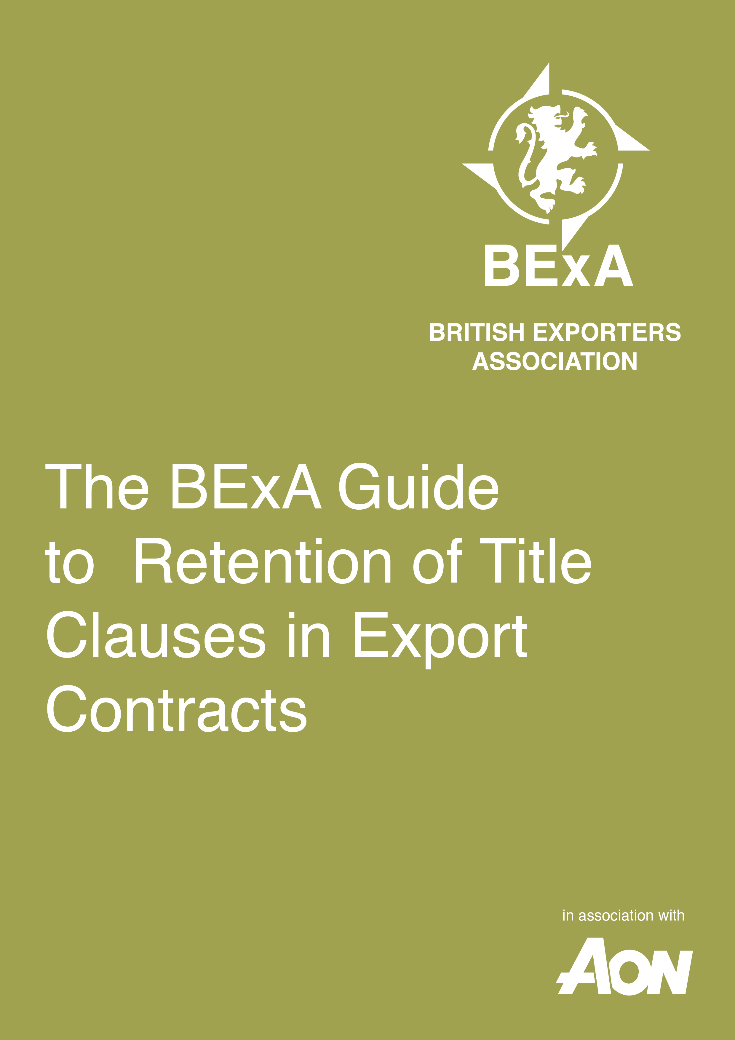 BExA Guide to the Retention of Title Clauses in Export Contracts front cover